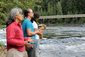 Dr. Margo Tamez and her family makes the trek to Mt Polley to offer Nde' song and prayers to the water